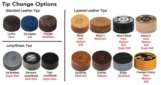 Tip change options - Blacheart tip - Cue Sport LV.